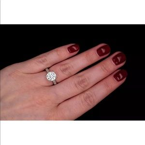 New Solitaire Diamond Engagement Ring 925 Silver